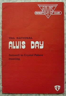 ALVIS OWNERS CLUB 5 May 1974 19th National ALVIS DAY Crystal Palace Programme