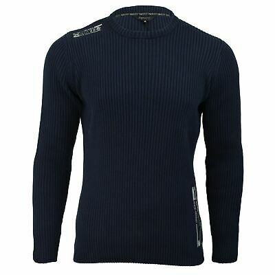 Mens Jumper Cotton Ribbed Knit Xact Clothing Crew Neck Long Sleeved