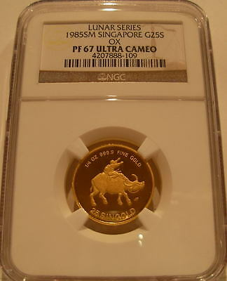 Singapore 1985 Gold 1/4 oz 25 Singold NGC PF-67UC Ox
