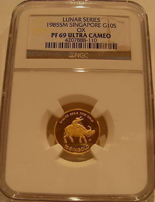 Singapore 1985 Gold 1/10 oz 10 Singold NGC PF-69UC Ox