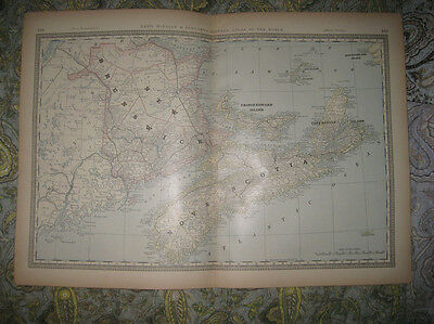 Large Antique 1882 New Brunswick Nova Scotia Prince Edward Island Canada Map Nr