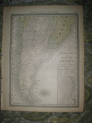 Fine Antique 1882 Southern South America Map Buenos Aires Argentina Patagonia Nr