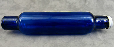 COBALT BLUE GLASS ROLLING PIN w/ WATER FILL WHITE METAL END CAP