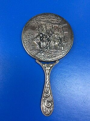 VINTAGE SILVER PLATED SMALL HAND MIRROR MADE IN DENMARK