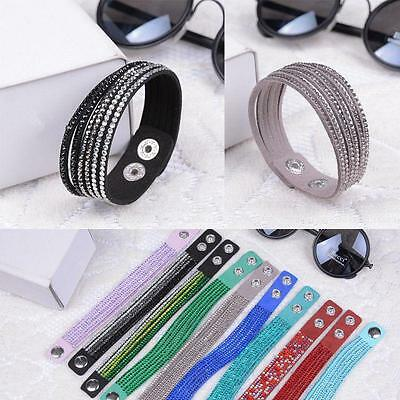 Punk Rhinestone Crystal Bracelet Leather Wrap Wristband Cuff Punk Bangle Women