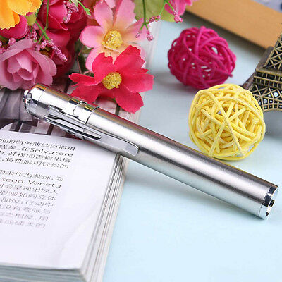Mini Silver LED Round Moon Shape Flashlight Stainless Steel Penlight Torch