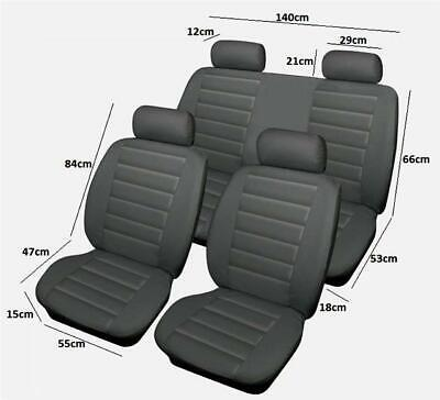 Easy Fit Full Set Seat Protectors - Leather Look Style Grey - Quality
