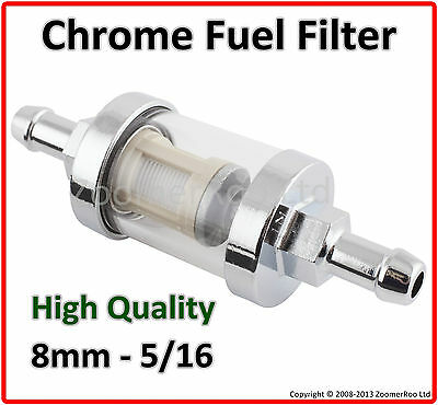 Universal 8Mm 5/16 Chrome & Glass Inline Fuel Filter - Petrol & Diesel