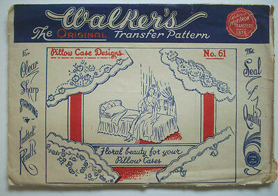 Walker's pillow case designs floral embroidery transfer 61 unused