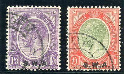 South West Africa 1927 KGV 1s3d & £1 pair very fine used. SG 56-57. Sc 94-95.