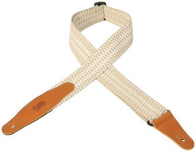 """Levy's MSSW80-004 2"""" Woven Guitar/Bass Strap- Leather Ends - White & Tan"""