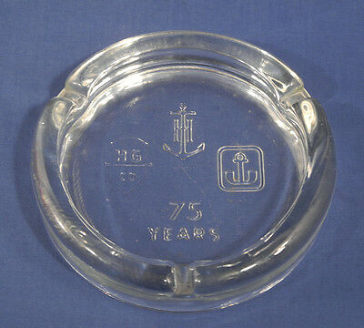 Vintage Anchor Hocking Co. 75 Years Commemorative Glass Ashtray 75th Anniversary