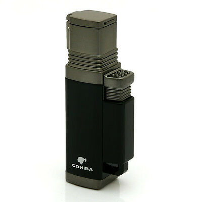 Cohiba Dark Blue Quad Torch Lighter With Dust Bag And Gift Box Shipped From Usa