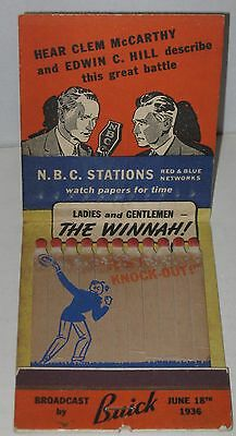 1940's Joe Louis vs Max Schmeling Broadcast by Buick Large Matchbook - Complete