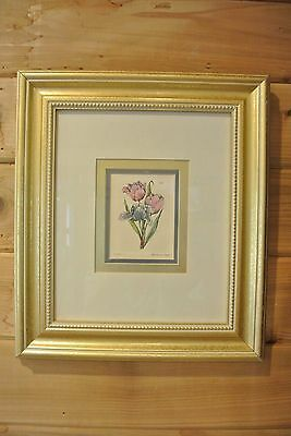 Hand Color Tulip Picture with Gold Wood Frame