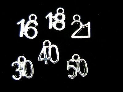 5 x SILVER PLATE 65 CHARM 10 x 9mm 65th BIRTHDAY SAME DAY *FREE* POSTAGE