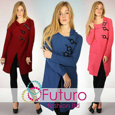 Chunky Poncho With Buckles Knitted Casual Cardigan Jumper Sizes 8-14 Klami