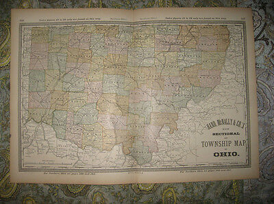 Fine Antique 1882 Ohio Sectional Township Map Named Railroad Athens Columbus Nr
