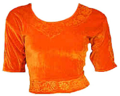 Orange Samt Top Choli für Bollywood Sari Gr. S bis 3XL