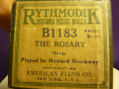 Vintage Piano Roll RYHTMODIK B 1183 The ROSARY Brockway