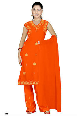 Salwar Kameez Set Karneval Sari Boho Indien Bollywood Orange in 4 Größen