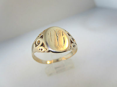 10k Y/GOLD ENGRAVED SCRIPT INITIALS ANTIQUE ESTATE NOUVEAU SIGNET RING  SZ 11.25