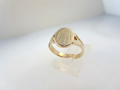 10k Y/GOLD ENGRAVED SCRIPT INITIALS ANTIQUE 1908 ESTATE NOUVEAU SIGNET RING