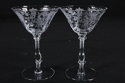 """2 Cambridge Rose Point Tall Sherbets Etched Stems Elegant Crystal 6 3/8"""" Tall"""