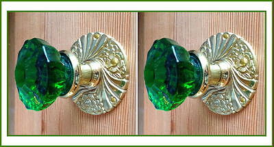 World Class Old Town Crystal Custom Knob Sets-Solid Brass -Solid Burned in Color