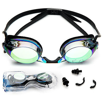 Adult Swim Goggles Anti Fog Silicone Adjustable Strap Nose Piece with Case