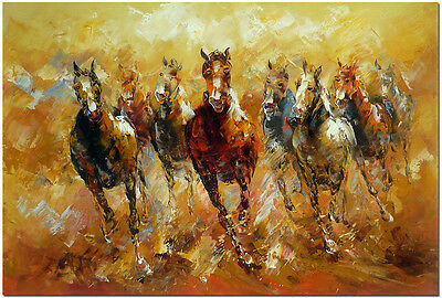 Running Horses - Hand Painted Impressionist Horse Oil Painting On Canvas 50x70cm