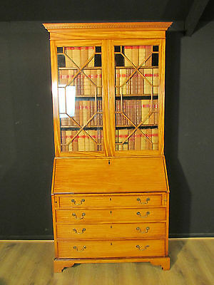 Antique Early Victorian Satinwood Buraeu Bookcase Circa 1840