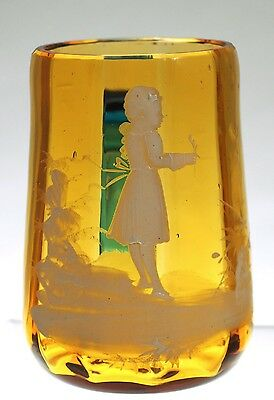 Art Glass - Bohemian Mary Gregory Style Child's Mug - Amber Blue handle