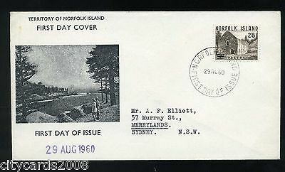 1960 NORFOLK ISLAND  2/8  Surcharge Illustrated   FDC