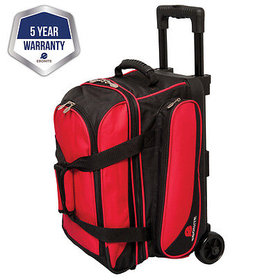 Ebonite Transport II Black/Red 2 Ball Roller Bowling Bag