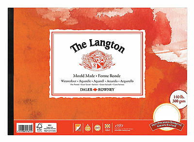 "DALER ROWNEY LANGTON 12x9"" HOT PRESSED SMOOTH GUMMED WATERCOLOUR PAD 140lb"