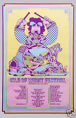 Jimi Hendrix & Others at Isle of Wight Concert Poster 1970  2nd Printing
