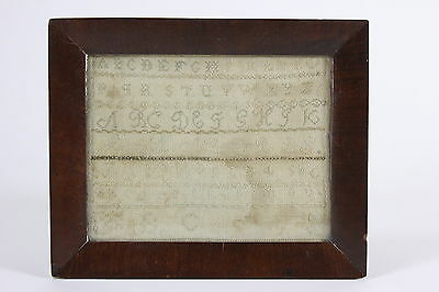 "18th Century Sampler Small Embroidery Panel Missing Letter 'J' 8 1/2"" x 6 1/2"""