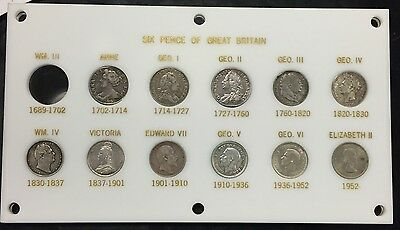 1703 - 1953 Six Pence of Great Britain Set of 11 Coins See Photos