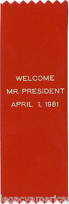 1981 Ronald Reagan Chicago Welcome Ribbon ~ Assassination Attempt (5043)