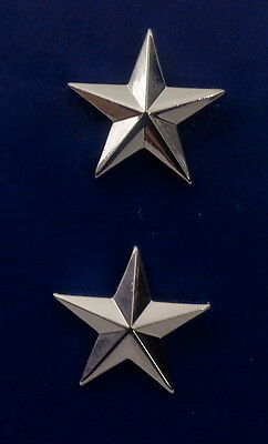 "Police Chief  or Deputy 1 star 1""  Silver Pair Collar Pins Rank Insignia 4470N"