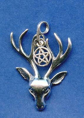 Stag w/Pentacle Pendant - Sterling Silver