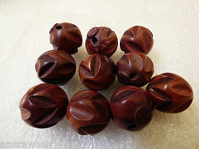 Antique Vintage Set of 10 Ball Sphere Carved Wood Buttons