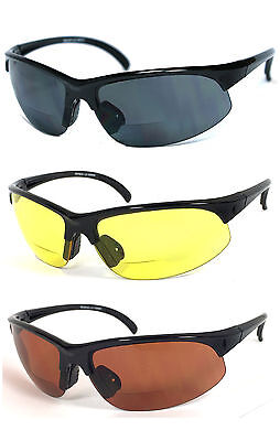 Bifocal Vision Reader Reading Glasses Sunglasses Smoke, Yellow or Amber Lens
