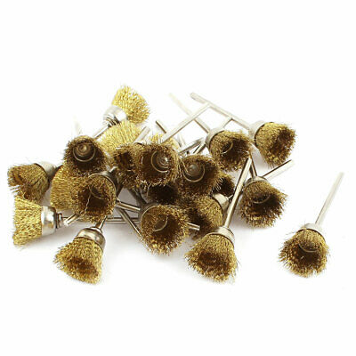 22 Pcs 2.3mm Shank Brass Wire Cup Polishing Brushes for Rotary Tool