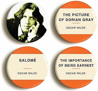 OSCAR WILDE BADGE BUTTON PIN SET (Size is 1inch/25mm diameter) DORIAN GRAY