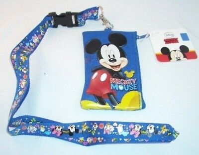 Blue Mickey Mouse Lanyard w/ Disney Licensed Zipper Wallet Pouch ID Badge Holder
