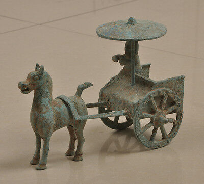 Collectible Decorated Old Handwork Bronze Carving Horse-drawn vehicles