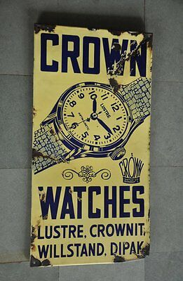Vintage Crown Wrist Watches Ad Porcelain Enamel Sign Board