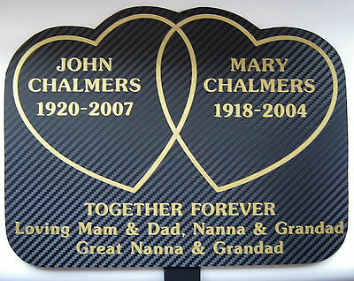 Memorial Plaque Grave Heart Personalised Your Own Words Mum Dad Gran 2 Hearts